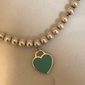 Tiffany & Co. Blue Heart Silver Beaded Bracelet